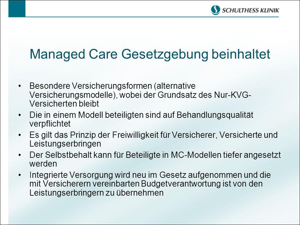 Managed Care Gesetzgebung beinhaltet