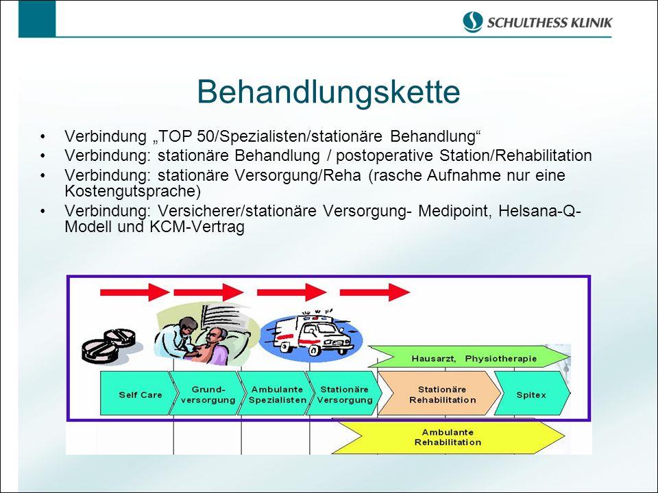 "Behandlungskette Verbindung ""TOP 50/Spezialisten/stationäre Behandlung Verbindung: stationäre Behandlung / postoperative Station/Rehabilitation."