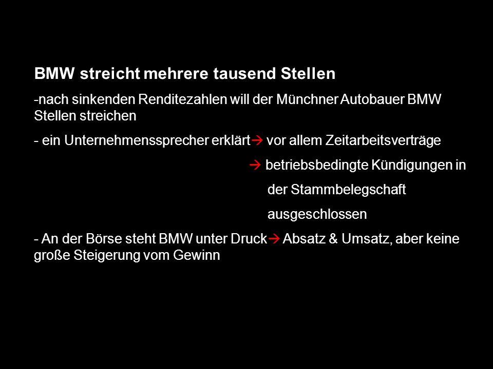 BMW streicht mehrere tausend Stellen