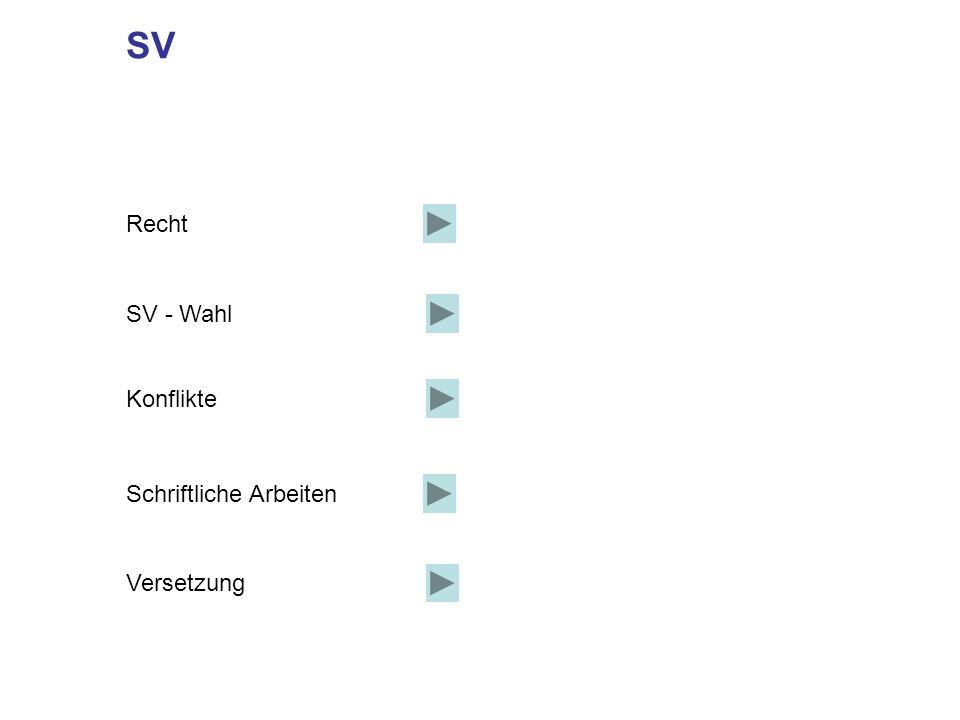 SV Recht SV - Wahl Konflikte Schriftliche Arbeiten Versetzung