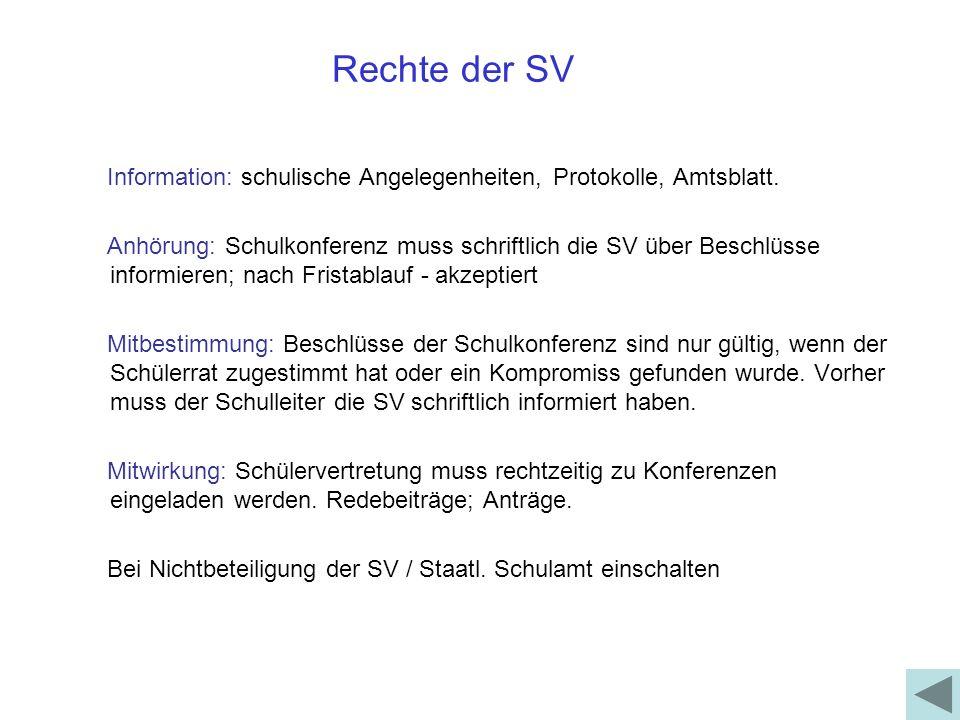 Rechte der SV Information: schulische Angelegenheiten, Protokolle, Amtsblatt.