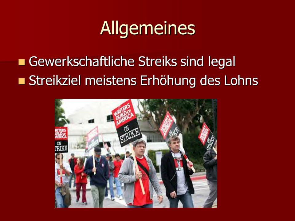 Allgemeines Gewerkschaftliche Streiks sind legal