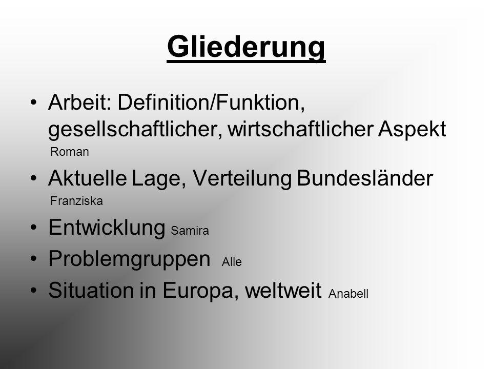 Gliederung Arbeit: Definition/Funktion, gesellschaftlicher, wirtschaftlicher Aspekt. Roman. Aktuelle Lage, Verteilung Bundesländer.