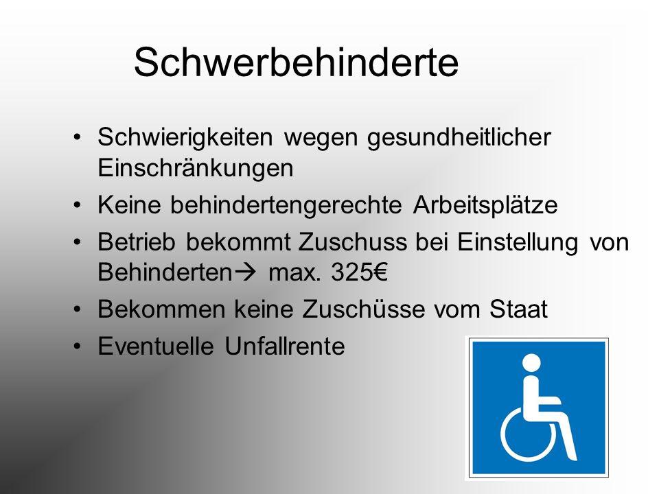 Schwerbehinderte Schwierigkeiten wegen gesundheitlicher Einschränkungen. Keine behindertengerechte Arbeitsplätze.