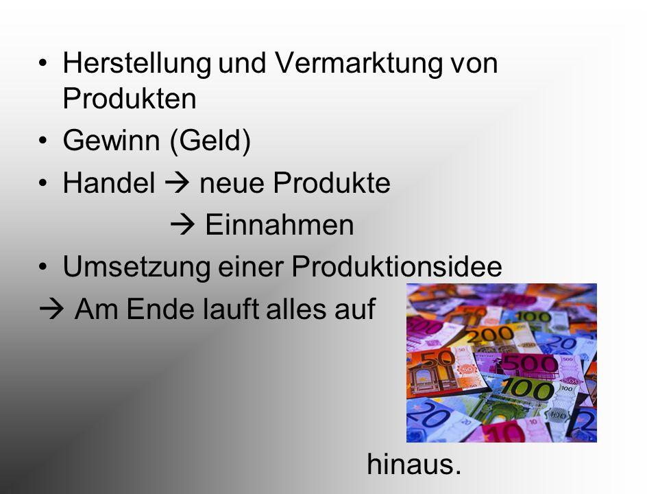 Herstellung und Vermarktung von Produkten