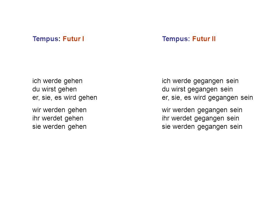 Tempus: Futur I Tempus: Futur II. ich werde gehen du wirst gehen er, sie, es wird gehen.