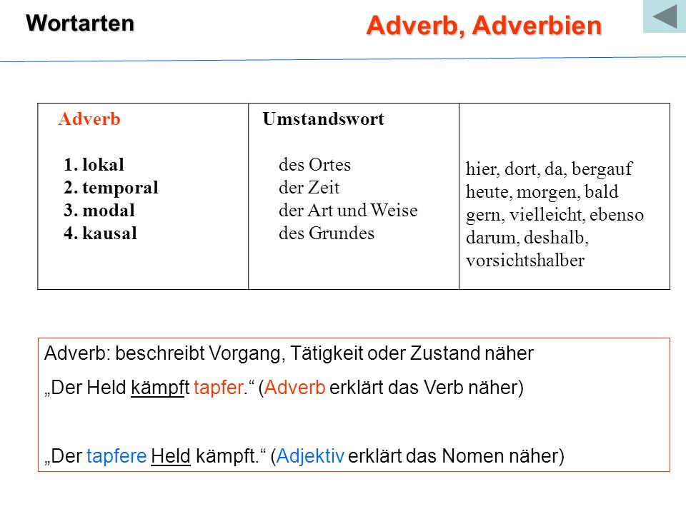 Adverb, Adverbien Wortarten Adverb 1. lokal 2. temporal 3. modal