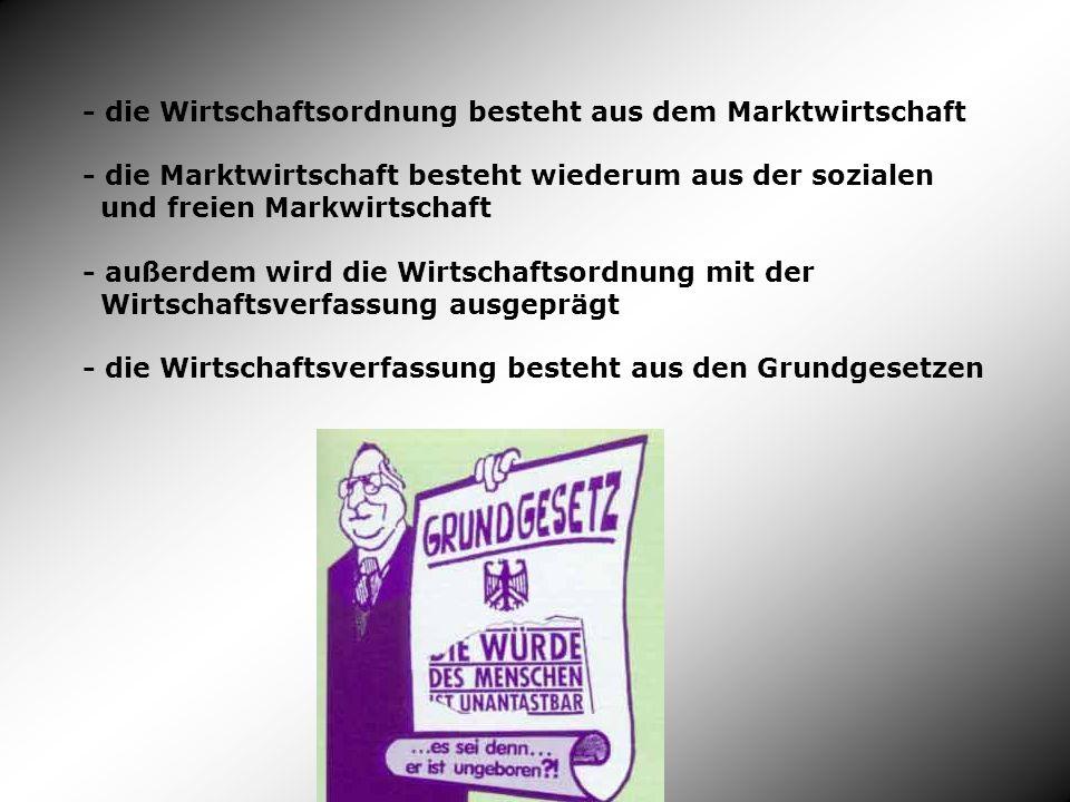 - die Wirtschaftsordnung besteht aus dem Marktwirtschaft