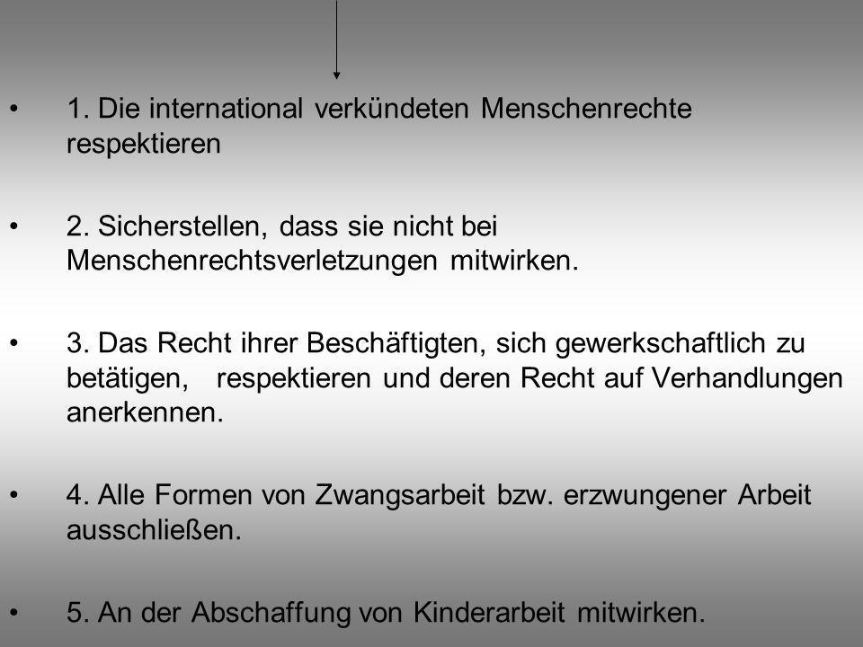1. Die international verkündeten Menschenrechte respektieren