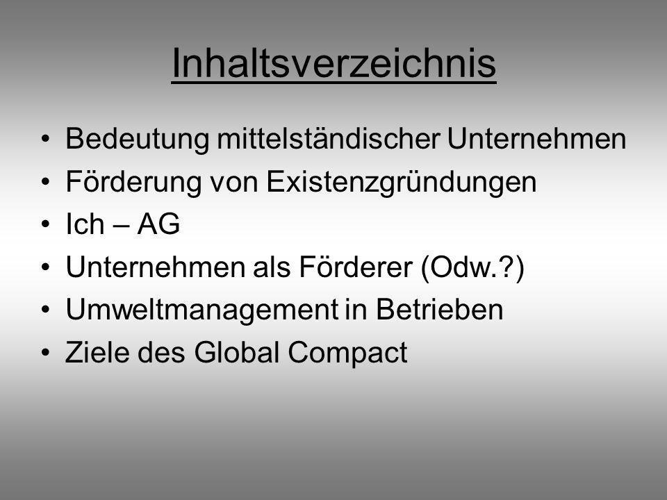 Inhaltsverzeichnis Bedeutung mittelständischer Unternehmen
