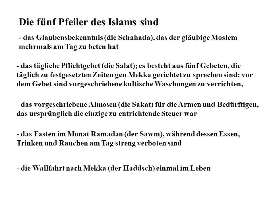 Die fünf Pfeiler des Islams sind