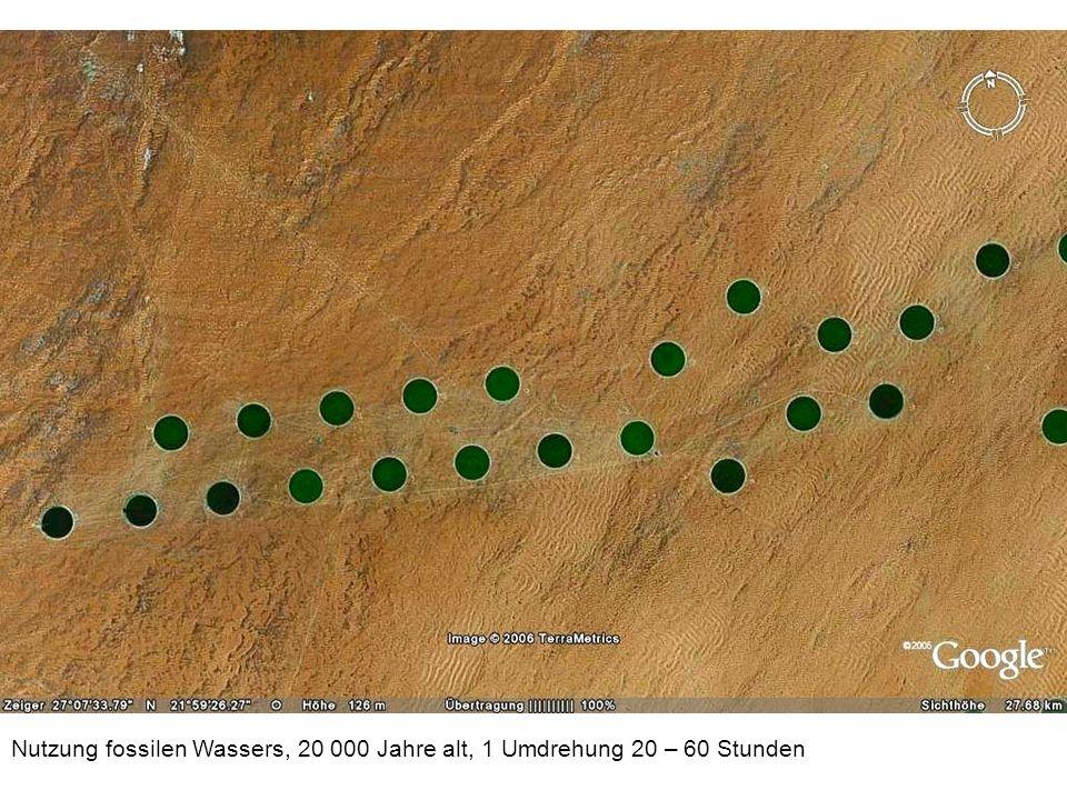 Nutzung fossilen Wassers, 20 000 Jahre alt, 1 Umdrehung 20 – 60 Stunden