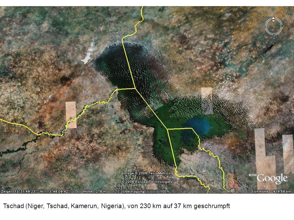 Tschad (Niger, Tschad, Kamerun, Nigeria), von 230 km auf 37 km geschrumpft