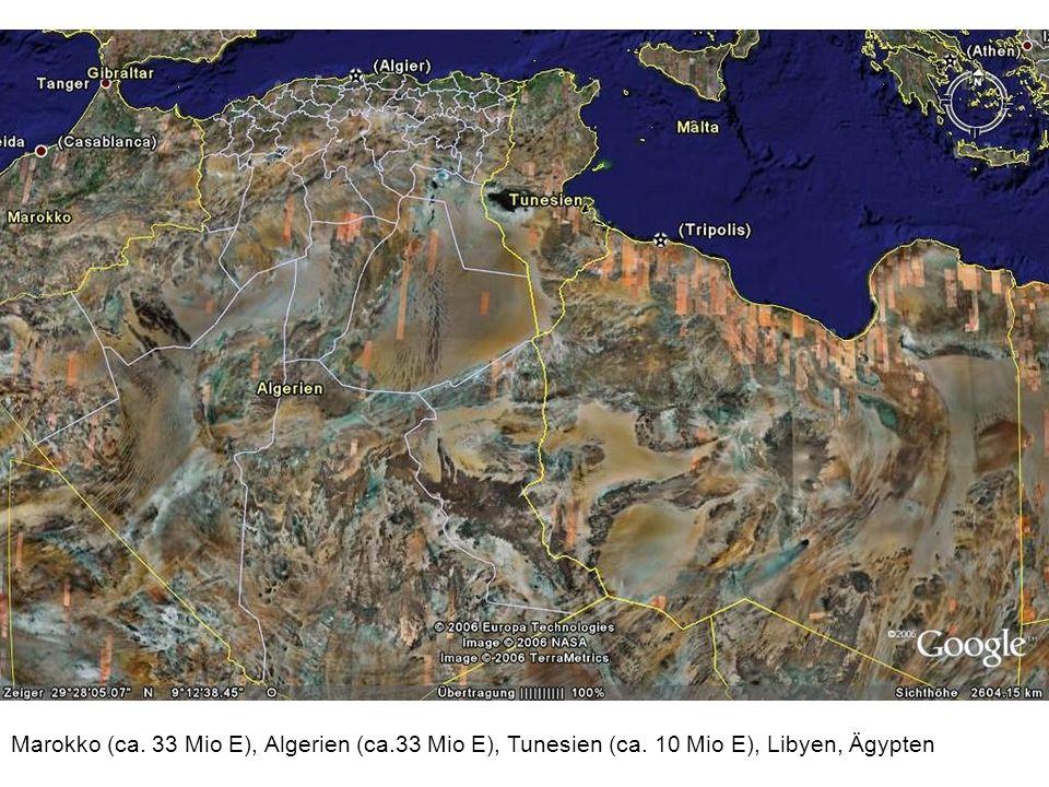 Marokko (ca. 33 Mio E), Algerien (ca. 33 Mio E), Tunesien (ca