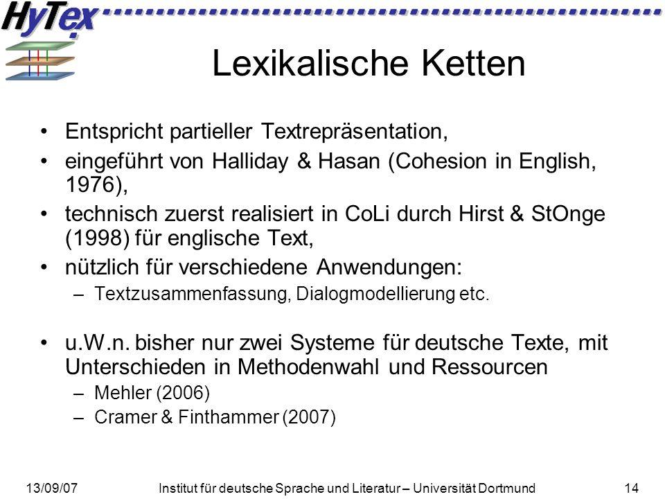 Lexikalische Ketten Entspricht partieller Textrepräsentation,