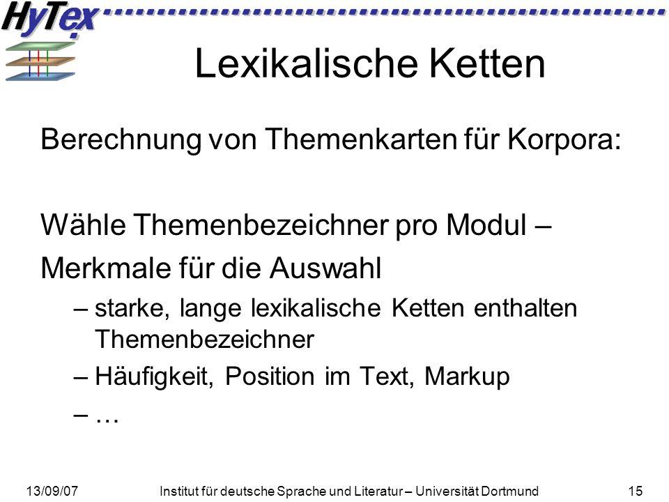 Lexikalische Ketten Berechnung von Themenkarten für Korpora: