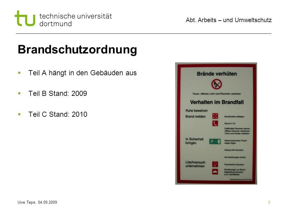 Brandschutzordnung Teil A hängt in den Gebäuden aus Teil B Stand: 2009