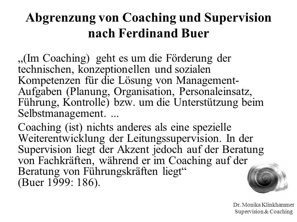 Abgrenzung von Coaching und Supervision nach Ferdinand Buer