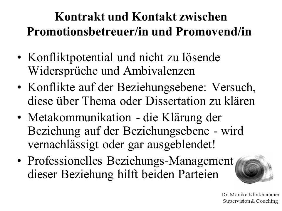 Kontrakt und Kontakt zwischen Promotionsbetreuer/in und Promovend/in -