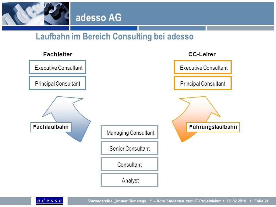 adesso AG Laufbahn im Bereich Consulting bei adesso Fachleiter