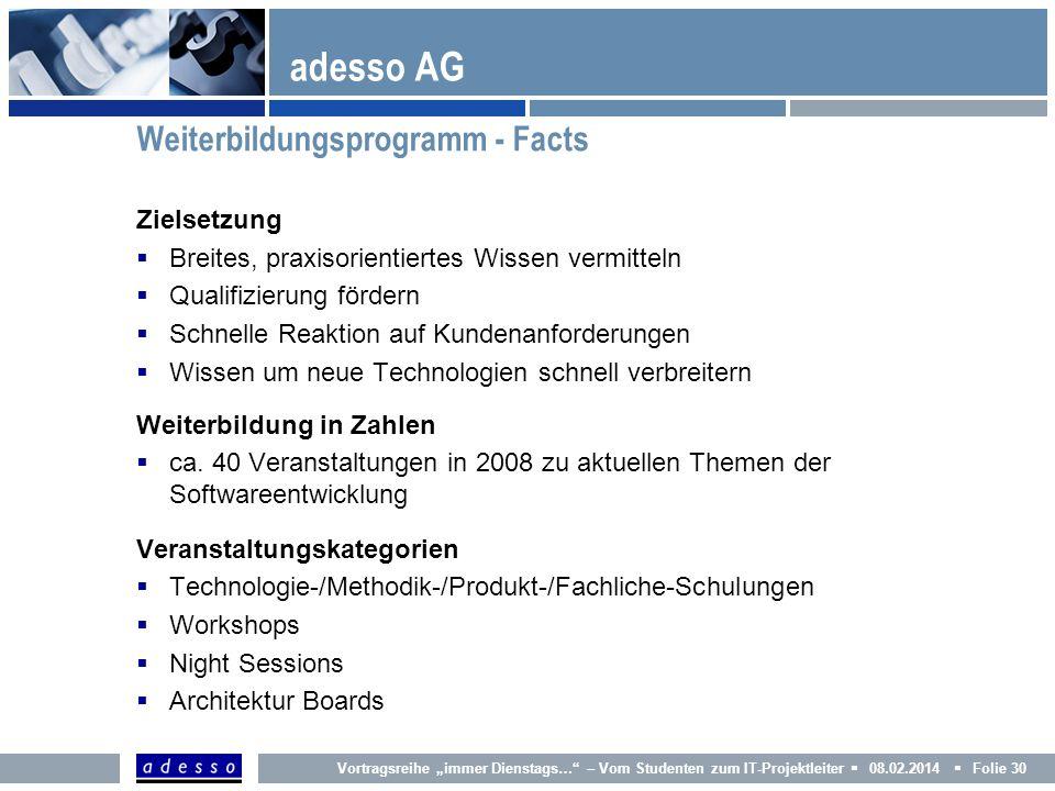 adesso AG Weiterbildungsprogramm - Facts Zielsetzung