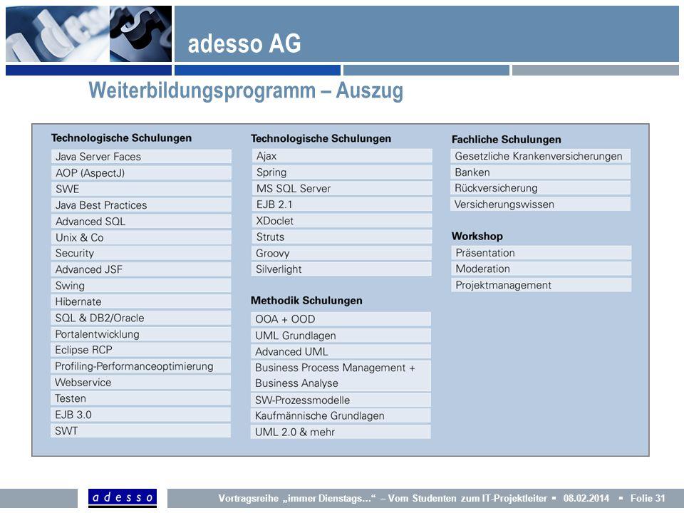 adesso AG Weiterbildungsprogramm – Auszug 31