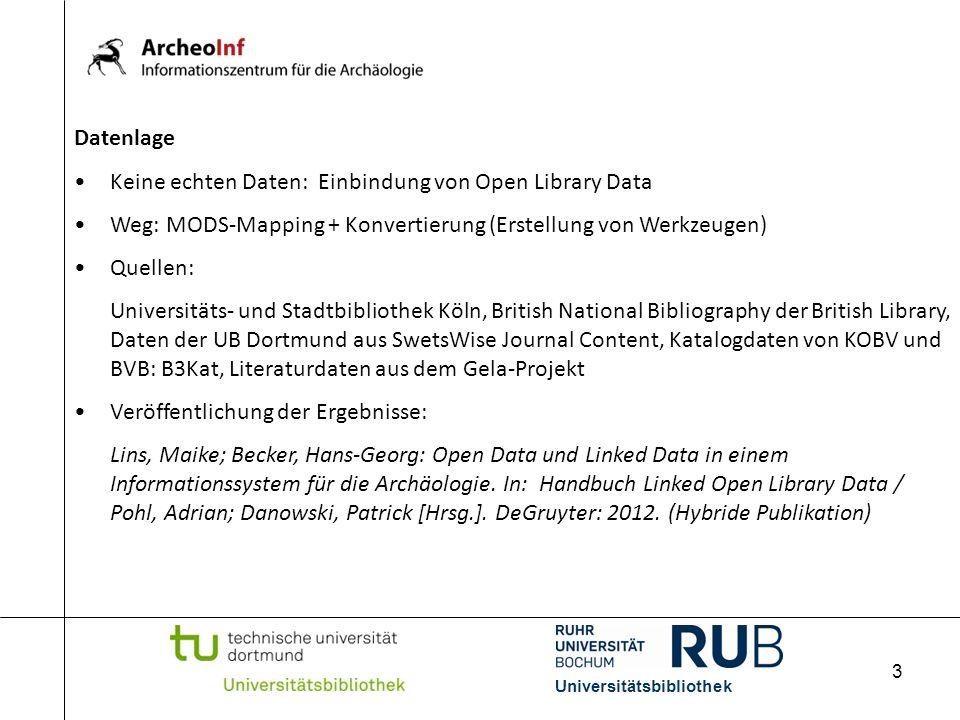 Keine echten Daten: Einbindung von Open Library Data