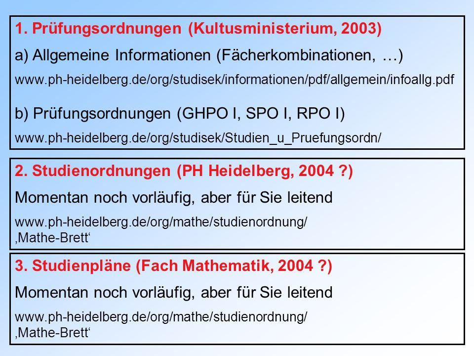 1. Prüfungsordnungen (Kultusministerium, 2003)