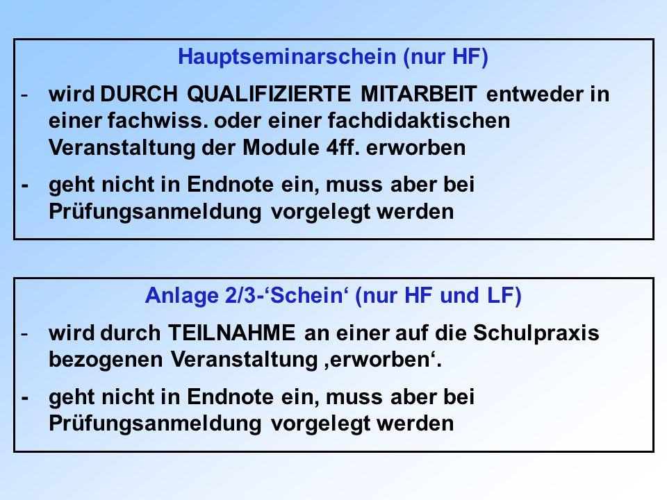 Hauptseminarschein (nur HF) Anlage 2/3-'Schein' (nur HF und LF)