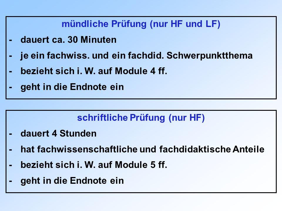 mündliche Prüfung (nur HF und LF) schriftliche Prüfung (nur HF)