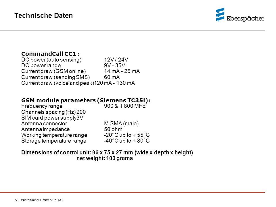 Technische Daten CommandCall CC1 : DC power (auto sensing) 12V / 24V
