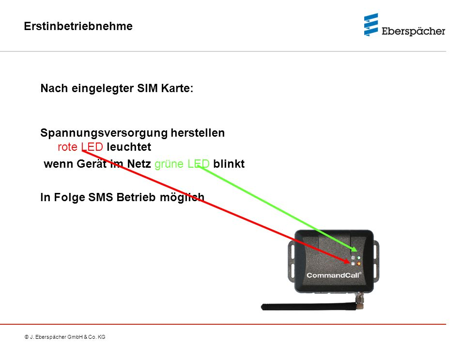 Erstinbetriebnehme Nach eingelegter SIM Karte: Spannungsversorgung herstellen rote LED leuchtet. wenn Gerät im Netz grüne LED blinkt.