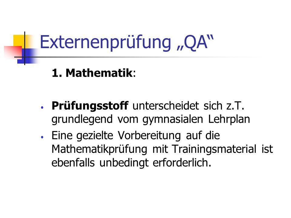 "Externenprüfung ""QA 1. Mathematik:"