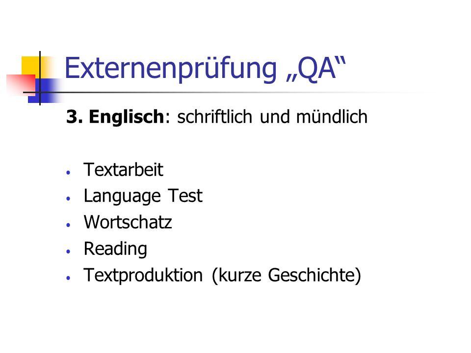 """Externenprüfung """"QA 3. Englisch: schriftlich und mündlich Textarbeit"""