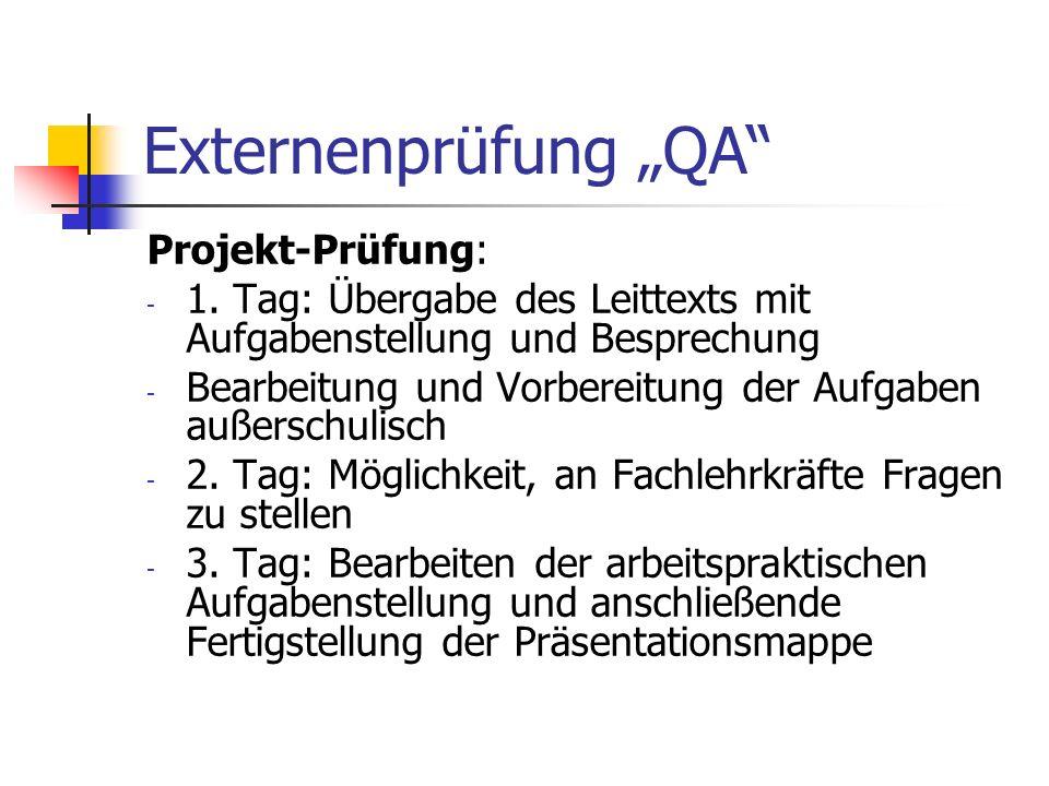 """Externenprüfung """"QA Projekt-Prüfung:"""