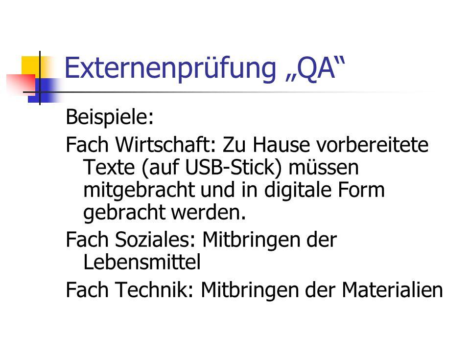 """Externenprüfung """"QA Beispiele:"""