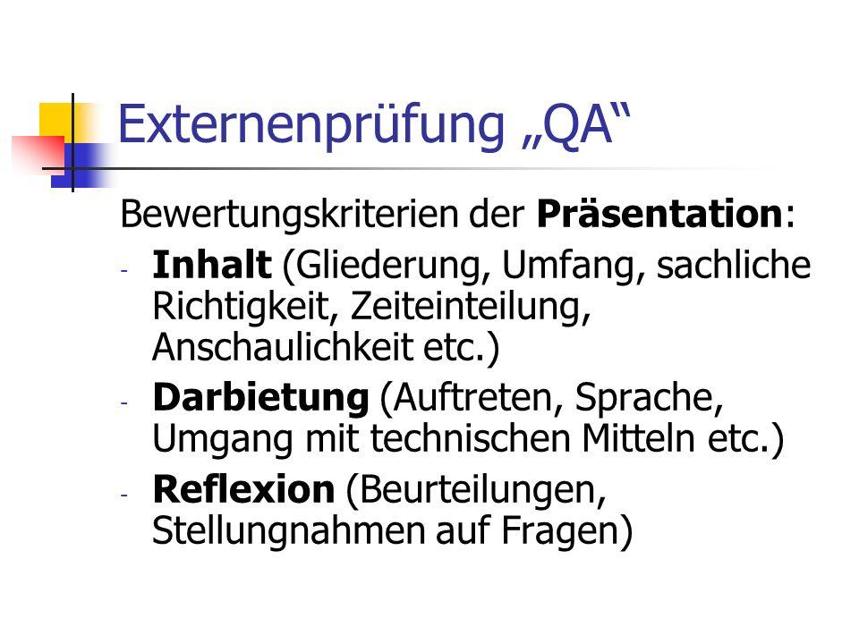 "Externenprüfung ""QA Bewertungskriterien der Präsentation:"