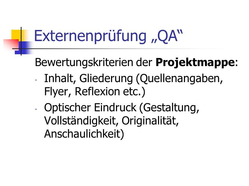 """Externenprüfung """"QA Bewertungskriterien der Projektmappe:"""