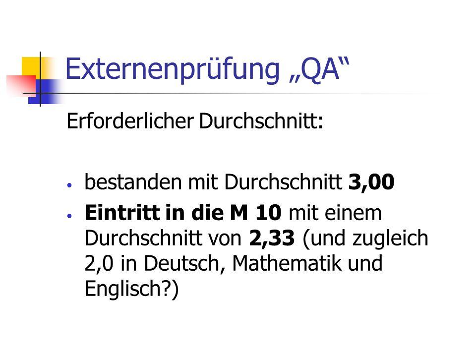 """Externenprüfung """"QA Erforderlicher Durchschnitt:"""