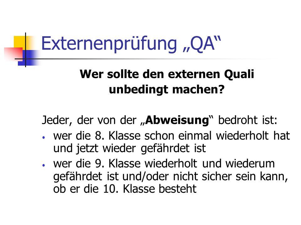 Wer sollte den externen Quali