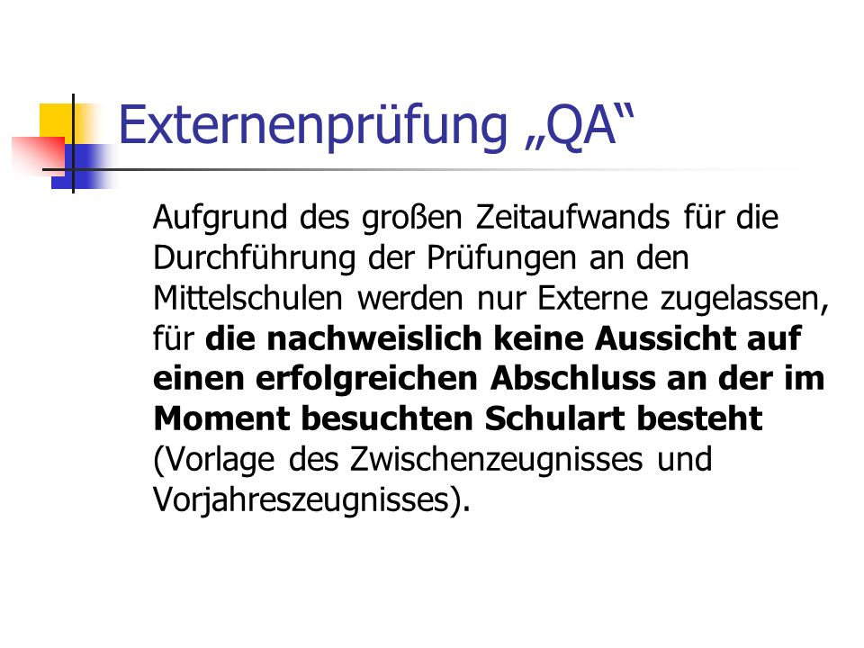 "Externenprüfung ""QA"