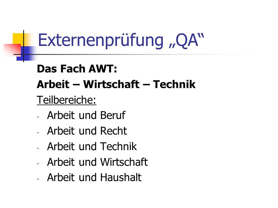 "Externenprüfung ""QA Das Fach AWT: Arbeit – Wirtschaft – Technik"