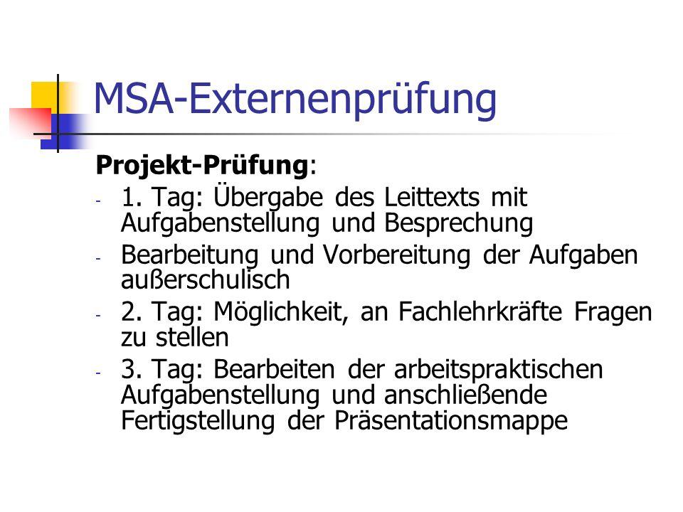 MSA-Externenprüfung Projekt-Prüfung: