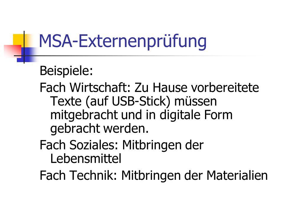 MSA-Externenprüfung Beispiele: