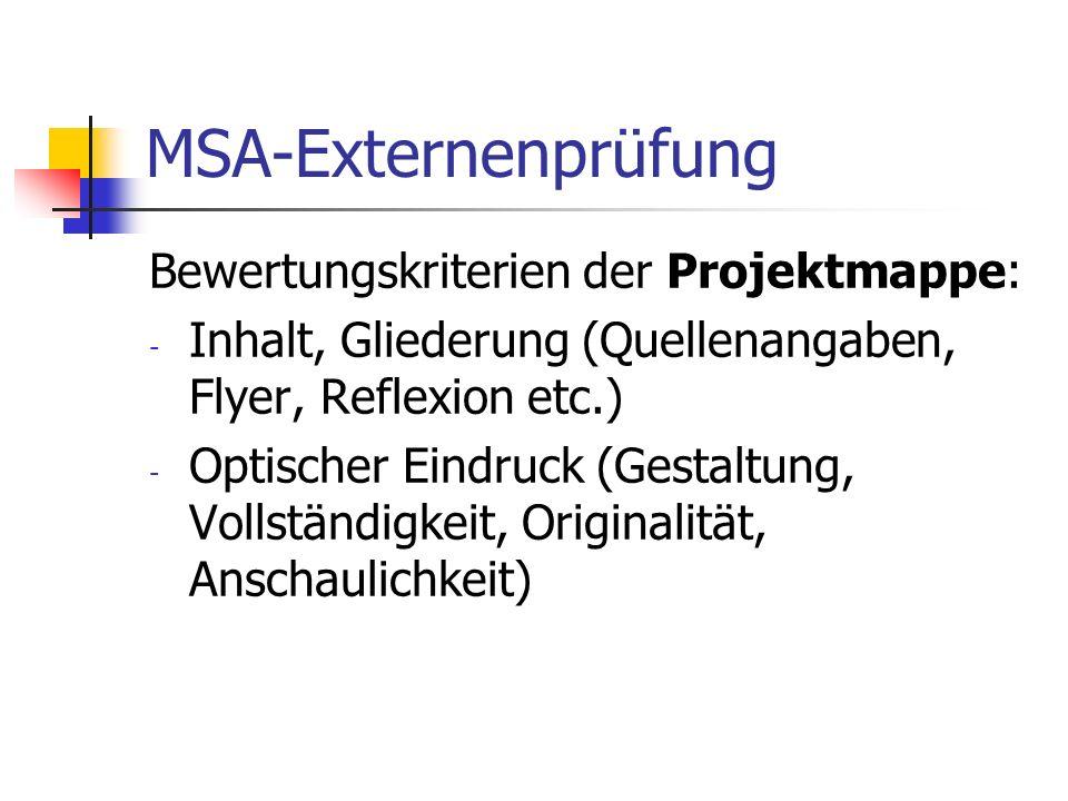 MSA-Externenprüfung Bewertungskriterien der Projektmappe: