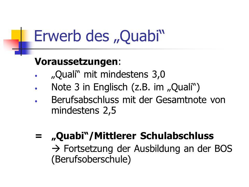 """Erwerb des """"Quabi Voraussetzungen: """"Quali mit mindestens 3,0"""