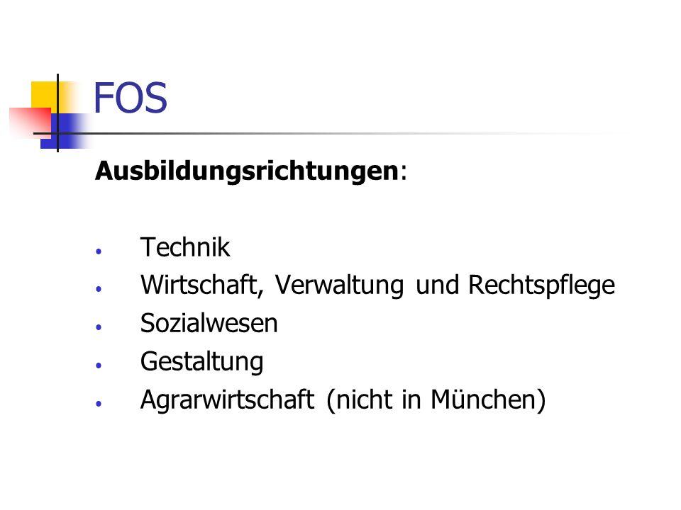 FOS Ausbildungsrichtungen: Technik