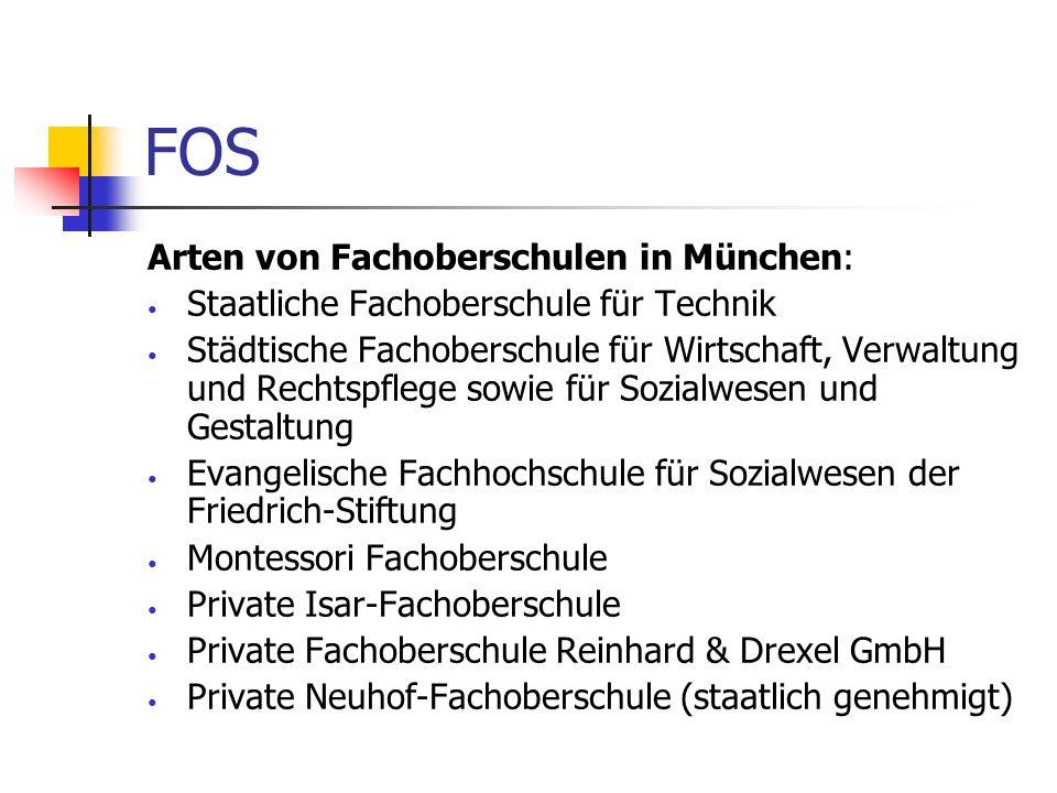 FOS Arten von Fachoberschulen in München: