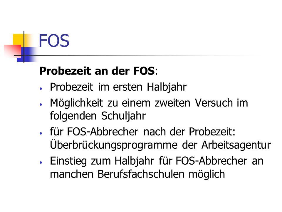 FOS Probezeit an der FOS: Probezeit im ersten Halbjahr