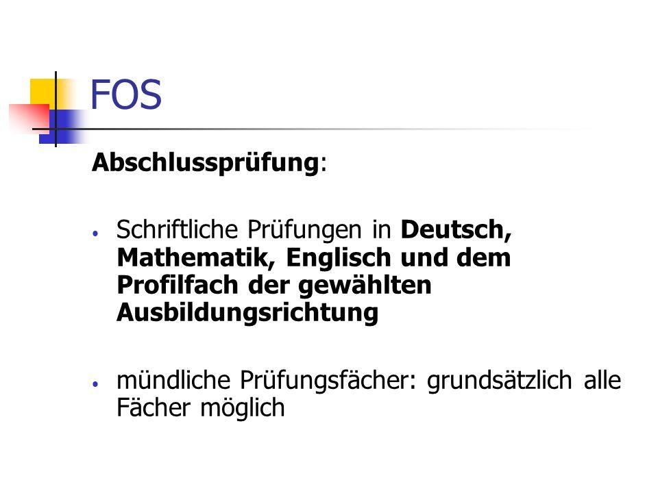 FOS Abschlussprüfung: